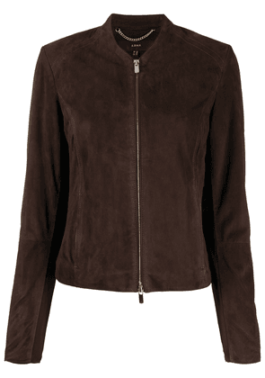 Arma collarless leather jacket - Brown