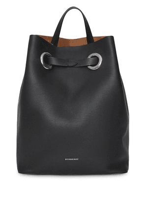 Burberry The Leather Grommet Detail Backpack - Black