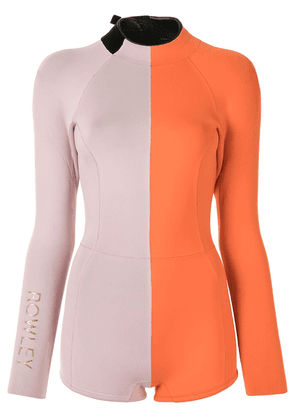 Cynthia Rowley Logan color-block wetsuit - ORANGE