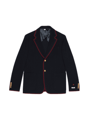 Wool cotton jersey jacket with patches