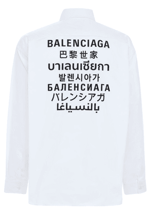 Multi Language Logo Print Poplin Shirt