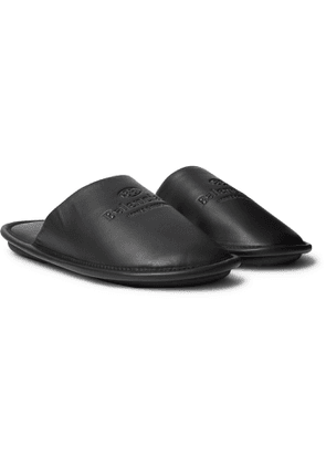 BALENCIAGA - Home Logo-Debossed Leather Slippers - Men - Black