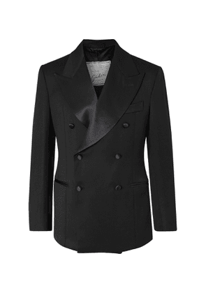 Giuliva Heritage - Tonino Slim-Fit Satin-Trimmed Double-Breasted Wool Tuxedo Jacket - Men - Black