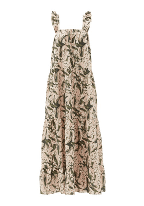 Adriana Degreas - Lily Of The Valley-print Tiered Linen-blend Dress - Womens - Green Print