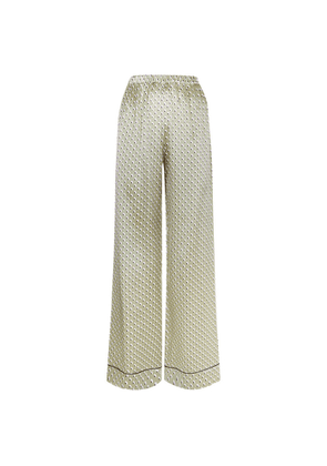 MENG Gold Geometric Silk Satin Trousers