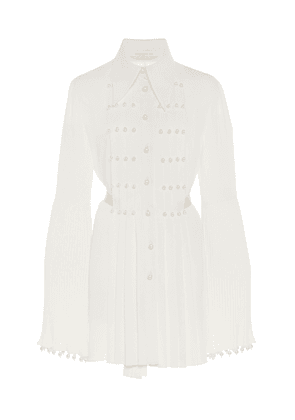 Andrew Gn Pearl-Embellished Pleated Silk Top
