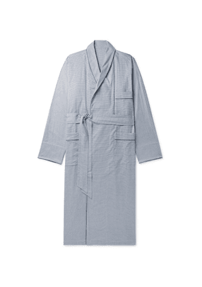 Anderson & Sheppard - Piped Puppytooth Cotton Robe - Men - Blue