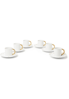 L'OBJET - Haas Mojave Set of Six Gold-Plated Porcelain Espresso Cups and Saucers - Men - White