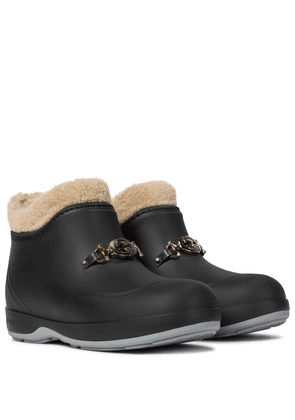 Faux shearling rubber ankle boots