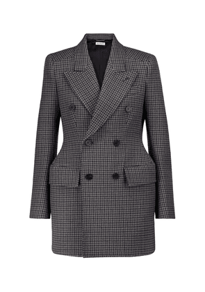 Hourglass houndstooth virgin wool blazer