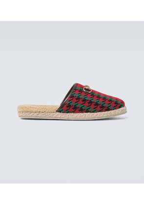 Houndstooth slippers with Horsebit