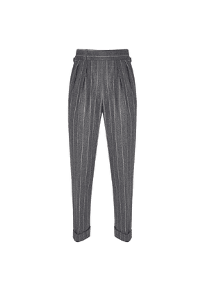 Grey Chalkstripe VBC Flannel Trousers
