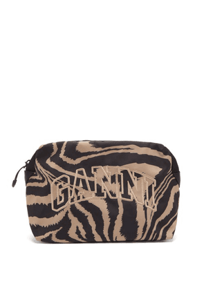 Ganni - Logo-embroidered Tiger-print Makeup Bag - Womens - Brown Multi