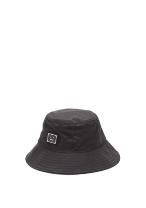 Acne Studios - Face-plaque Canvas Bucket Hat - Mens - Black