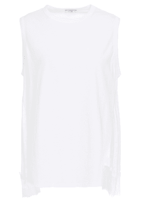 Clu Lace-trimmed Cotton-jersey And Twill Top Woman White Size S