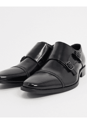 Dune piramid lace up shoe in high shine black leather