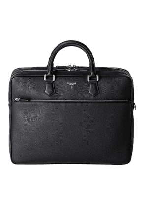 Ink Black Cachemire Leather Large Briefcase