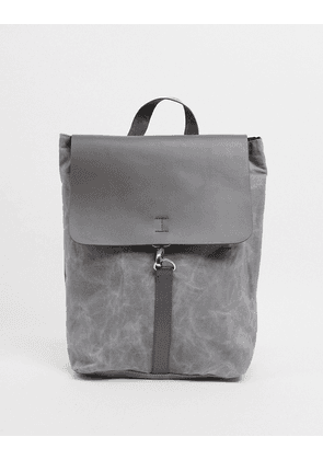 ASOS DESIGN foldover leather and canvas backpack in grey