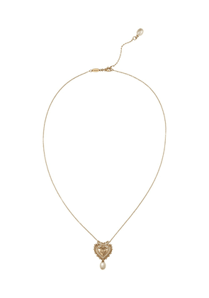 Dolce & Gabbana 18kt yellow gold Devotion Sacred Heart diamond and pearl pendant necklace