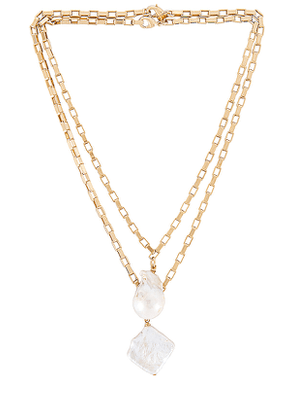 joolz by Martha Calvo Pearl Two-Piece Necklace Set in Metallic Gold.