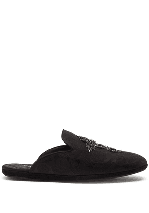 Dolce & Gabbana Young Pope cross-embroidered slippers - Black