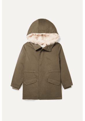 Yves Salomon Kids - Age 8 - 12 Hooded Metallic Shell And Faux Shearling-lined Cotton-twill Parka - Army green