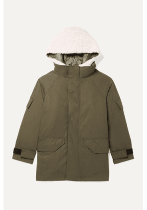 Yves Salomon Kids - Age 8 - 10 Hooded Layered Cotton-blend Twill And Shearling Parka - Green