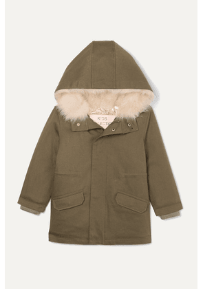 Yves Salomon Kids - Ages 4 - 6 Hooded Metallic Shell And Faux Shearling-lined Cotton-twill Parka - Green