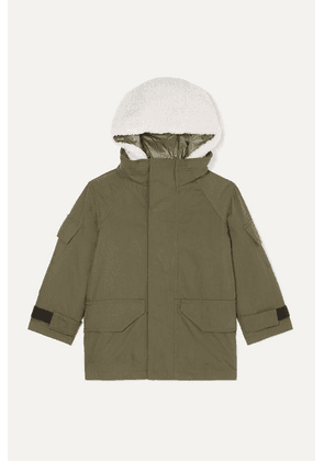 Yves Salomon Kids - Ages 4 - 6 Hooded Layered Cotton-blend Twill And Shearling Parka - Green