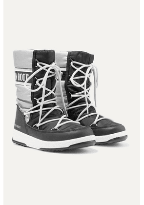 Moon Boot Kids - Ages 2 - 14 Two-tone Shell, Vinyl And Faux Leather Snow Boots - Silver