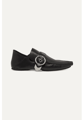 Loewe - Buckled Collapsible-heel Leather Loafers - Black