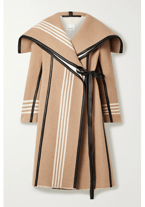 Burberry - Layered Cape-effect Leather-trimmed Striped Wool Coat - Camel