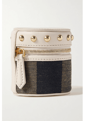 Fendi - Studded Leather And Canvas Pouch - Beige