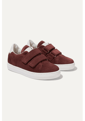 Brunello Cucinelli Kids - Size 28 - 34 Leather-trimmed Suede Sneakers - Burgundy