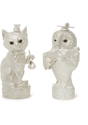 Asprey - Owl & Pussycat Sterling Silver Salt and Pepper Shakers - Men - Silver