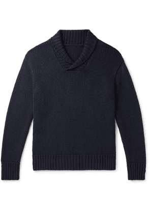 Anderson & Sheppard - Slim-Fit Shawl-Collar Cashmere Sweater - Men - Blue