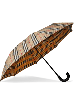 BURBERRY - Checked Leather-Handle Umbrella - Men - Neutrals