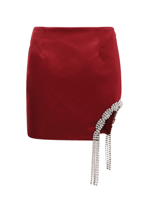 Embellished Satin Mini Skirt