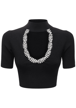 Embellished Rib Knit Crop Top