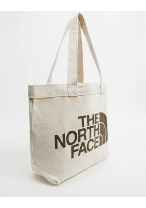 The North Face Cotton brown logo tote bag in natural