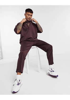 ASOS DESIGN smart co-ord tapered joggers with fixed hem & pin tucks in brown