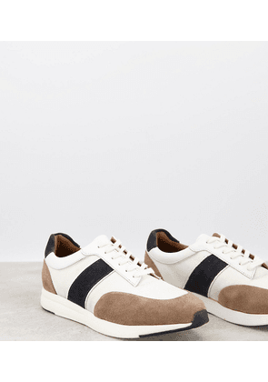 Dune wide fit side stripe trainers in white leather mix