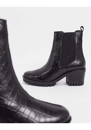 Dune racer chunky heeled chelsea boots in black croc