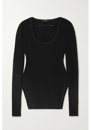 Bassike - + Net Sustain Ribbed Stretch-cotton Top - Black