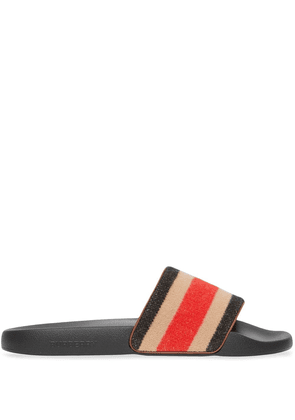 Burberry striped wool and leather slides - Neutrals