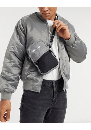 Sixth June cross body pouch with reflective detail in grey