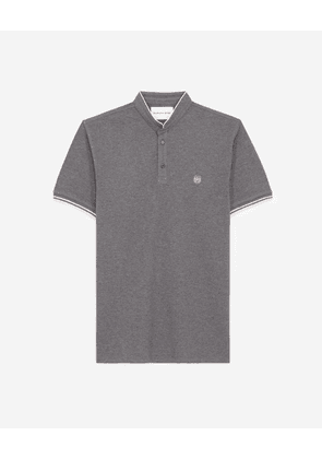 The Kooples - Flecked grey cotton polo with pink piping - MEN