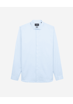 The Kooples - Chic blue shirt in cotton w/cutaway collar - MEN