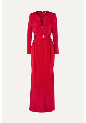 Alexis Mabille - Crystal-embellished Belted Crepe Gown - Red