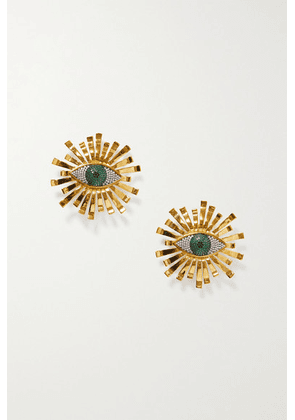 Begüm Khan - All Eyes On You Gold-plated Crystal Clip Earrings